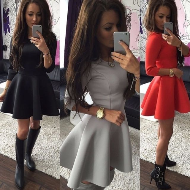 Skater dress with half sleeves and flair skirt [Size 10 to 12] [Red]