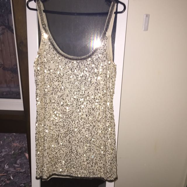 Sportsgirl Gold Sequin Shift Dress