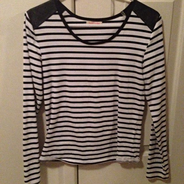 Stripe Long Sleeve With Leather Shoulder