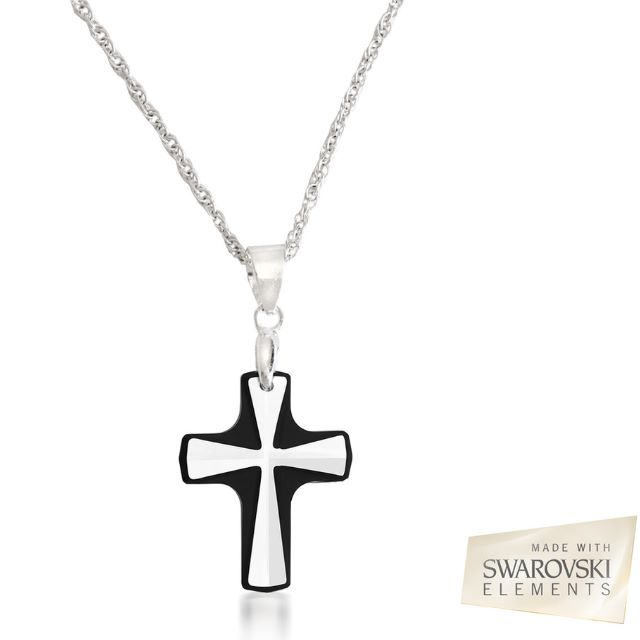 Swarovski Elements Forsted Glass Crystal Goth Black Contrast Crucifix  Prayer Blessings Protection Cross Pendant Necklace