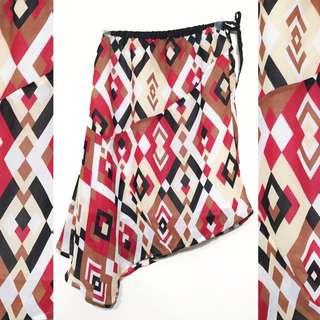 👒古著 日本帶回 復古 幾何 圖騰 斜裙 / 前短後長 / 兩穿