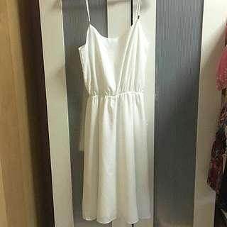 TEM Minimalistic White Midi Spag Dress
