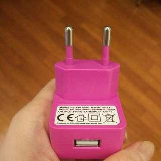 粉紅色 歐規轉接頭