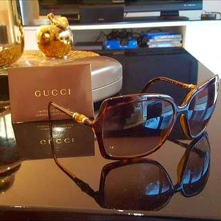GUCCI SUNGLASSES - Havana Frame Brown Lens. Celebrity Glasses!!