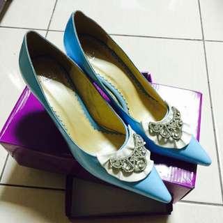 「二手」水藍色公主高跟鞋