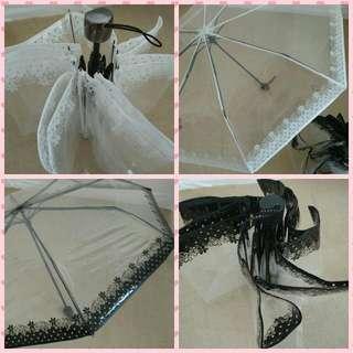 韓系 蕾絲花邊透明三折縮骨雨傘