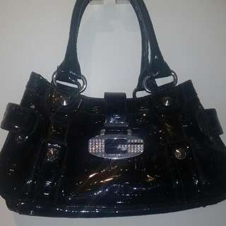 Guess Black Patent Leather Handbag