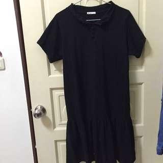 黑色魚尾素面洋裝