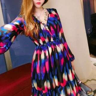 💕靚麗彩虹收腰顯瘦雪紡連衣裙