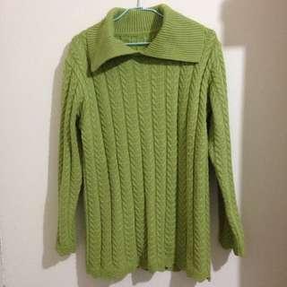 抹茶綠麻花針織衫