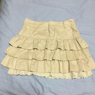 米杏色蛋糕蕾絲裙