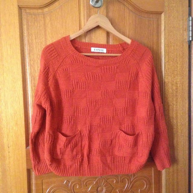 橘色小短版毛衣