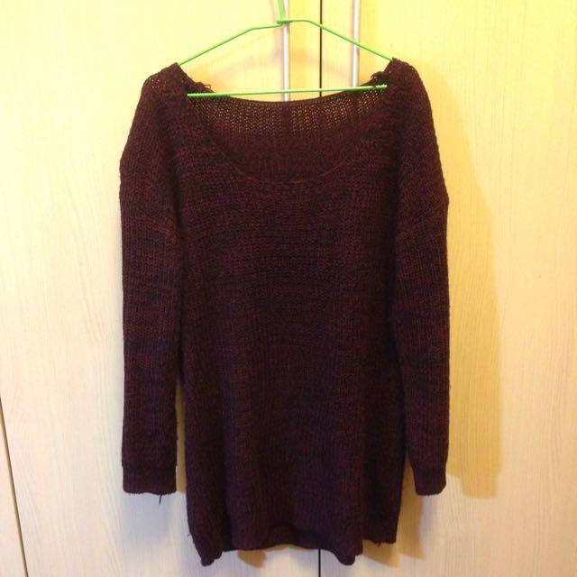 酒紅色長版毛衣罩衫(含運)
