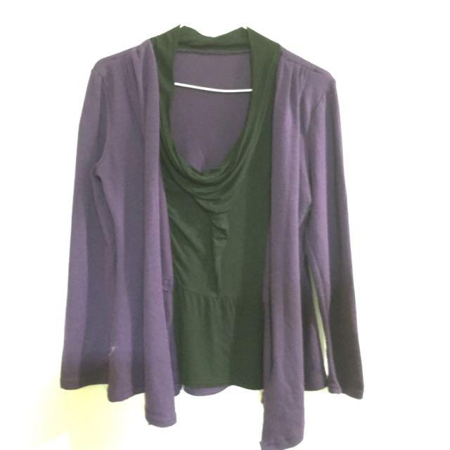 紫色針織衫