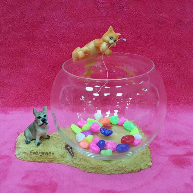 可愛貓咪玻璃小魚缸 特價145