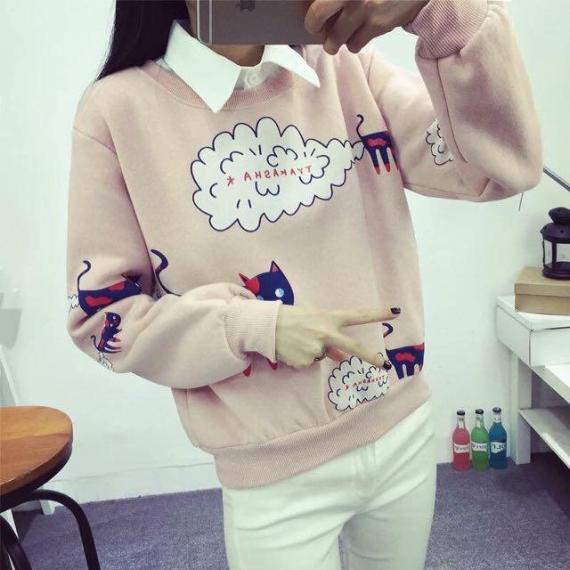 粉紅雲&貓 上衣