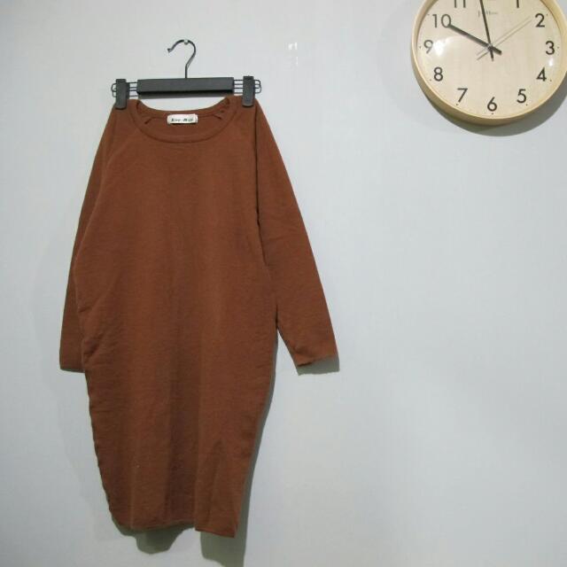 日本●古著_駝色針織長素色洋裝