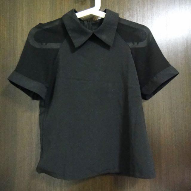 (SALE) Collar Top (Black)
