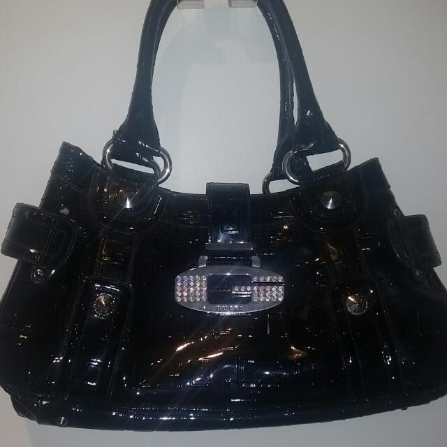 Guess Black Patent Leather Handbag