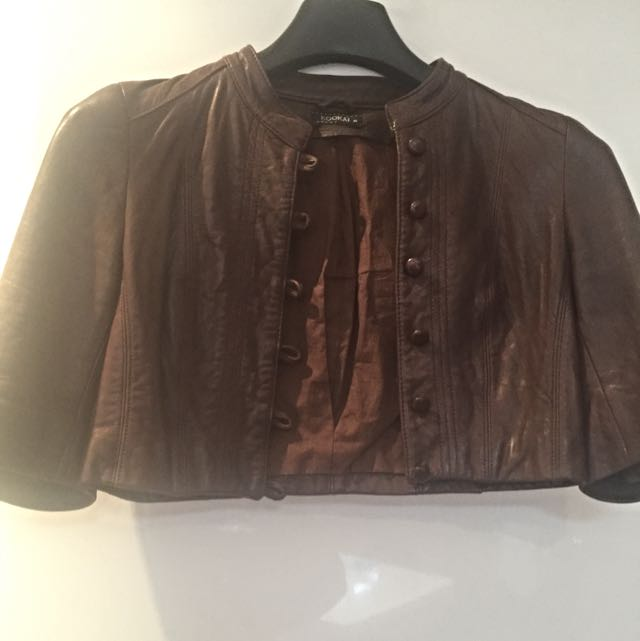 KOOKAI Lambs Leather Cropped Brown Jacket, Size 36