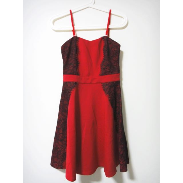 Lace Skater Dress (Red)