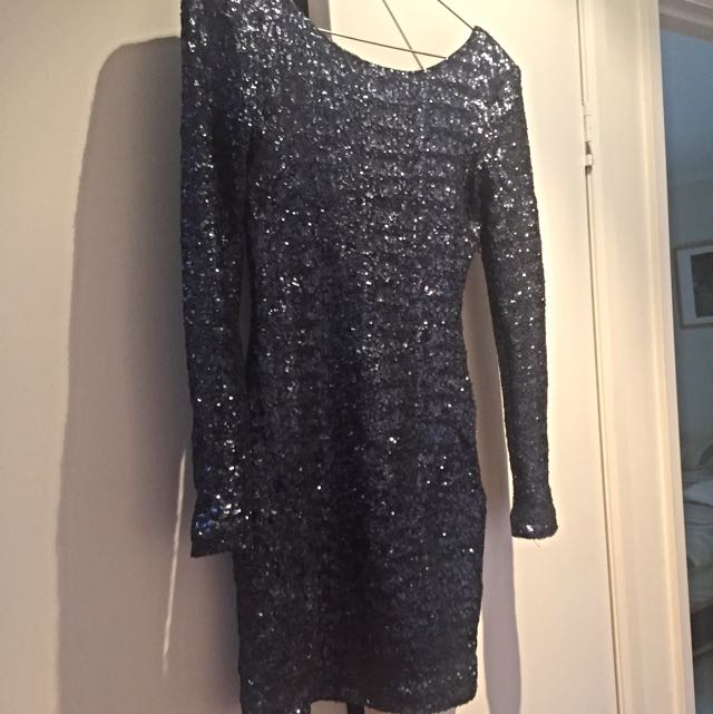 NICHOLAS Long Sleeve Navy Sequin Dress, Size 8
