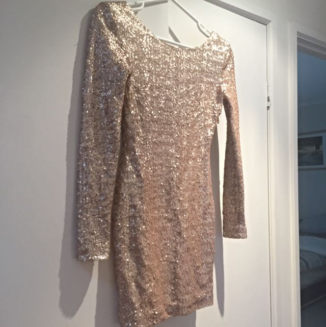 NICHOLAS Long Sleeve, Scoop Back Gold Sequin Dress, Size 8