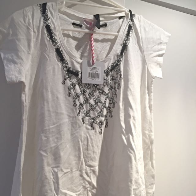 Sass & Bide 'Like never before Zephyr Tee' Size XS, Colour Ivory