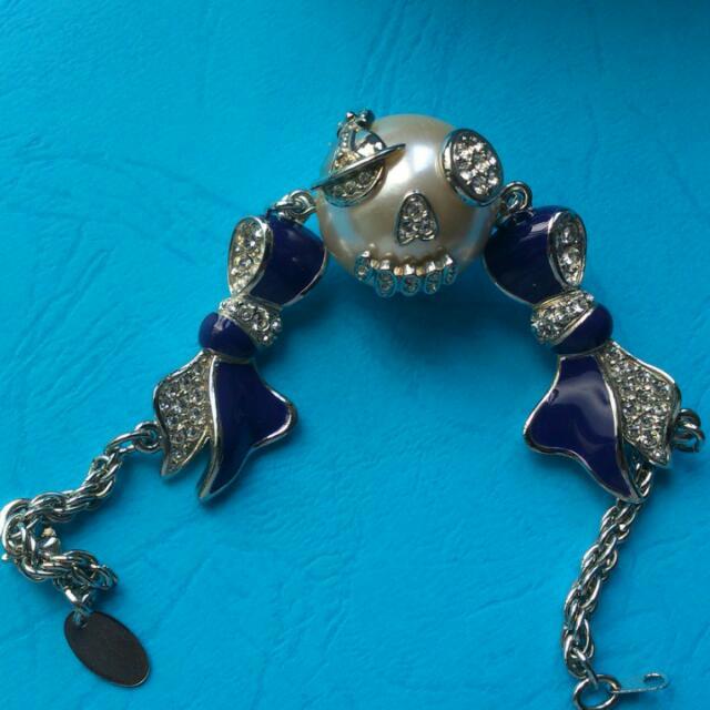 Vivienne Westwood超美靛藍珍珠小丑土星手鍊