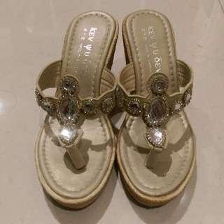 氣質楔型拖鞋39號