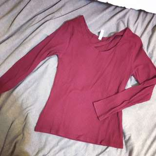 #保留 薄款舒適顯瘦素面T恤 酒紅