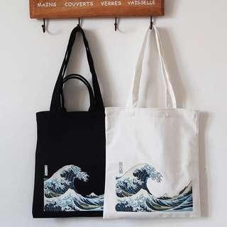 🌊日本浮世繪海浪加厚款帆布包