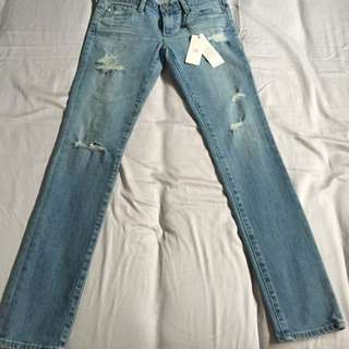 AG Adriano Goldschmied Jeans - The Stilt - Light Blue Skinny Ripped Jeans