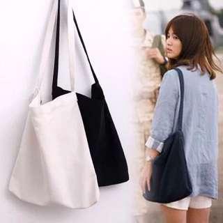 韓版帆布簡約單肩斜背大包-灰色