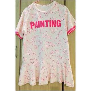 韓貨 噴墨 塗鴉 粉色 繽紛 洋裝