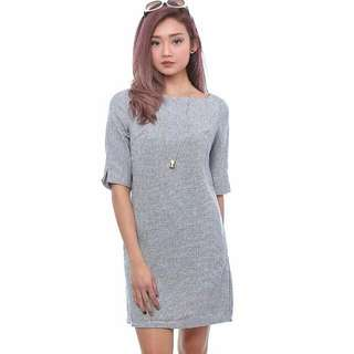 Fairebelle square neck pocket tweed dress - Grey
