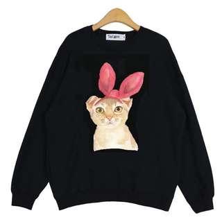 蝴蝶結貓咪長袖上衣