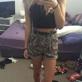 High Waisted Camo Shorts With Belt