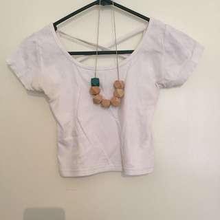 White Crop Top/ Necklace