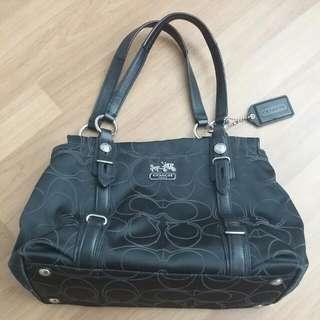 PRELOVED Coach 15402 Signature C Black Gray MIA Outline Sateen Tote Bag