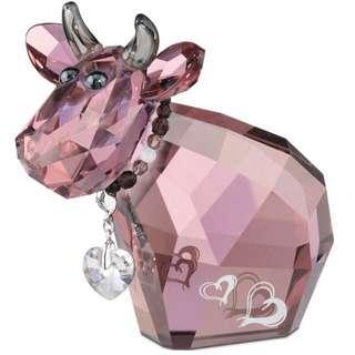 施華洛世奇 粉紅牛擺件