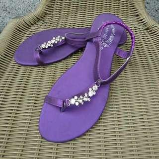 紫色夾腳米奇鑽飾涼鞋