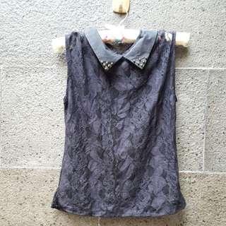 Preloved Lace Top Black