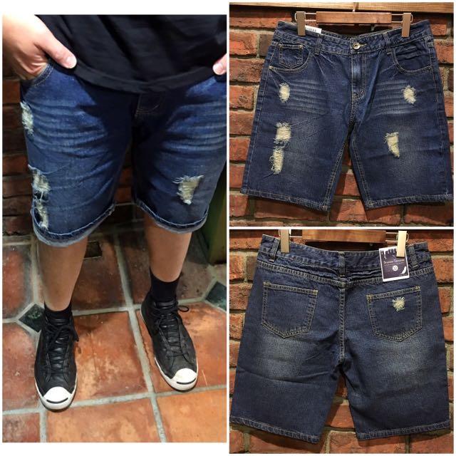 """16"""" 水洗破壞加工 牛仔造型短褲 反摺穿著"""