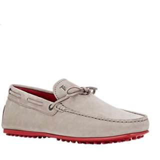正品 Tod's 豆豆鞋 紅底鞋 開車鞋 休閒鞋 懶人鞋 大地色 淺灰