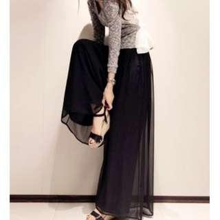 0330Q8533韓國街拍雙層雪紡紗飄逸寬褲3色