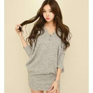 0330Q8429韓國潮流V領排扣包臀連身裙