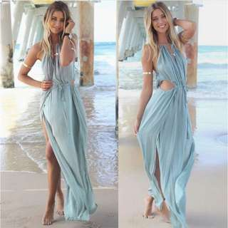 ohemian Halter Neck Sleeveless Hollow Out High Furcal Dress For Women