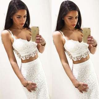 Sexy Spaghetti Strap Sleeveless Cut Out Tank Top + High-Waisted Lace Skirt Twinset For Women