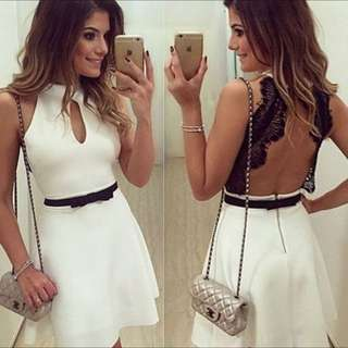Stylish Women's Round Collar Sleeveless Open Back A-Line Lace Splicing Dress